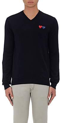 Comme des Garcons Men's Double-Heart-Patch Wool Sweater