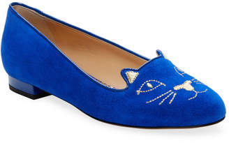 Charlotte Olympia Suede Kitty Flat