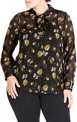 City Chic Noveau Floral Tie Neck Blouse