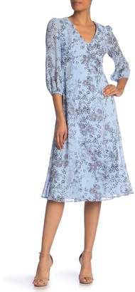 Donna Morgan Starry Print Chiffon Midi Dress
