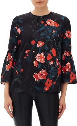 Lafayette 148 New York Roslin Floral Print Silk Blouse
