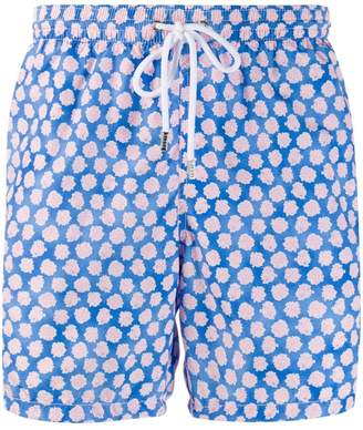 coral print swim trunks