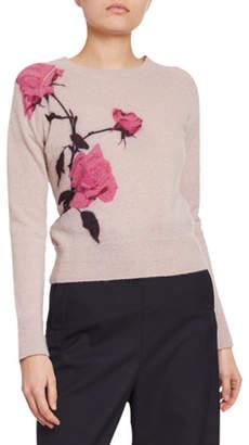 Dries Van Noten Rose-Print Alpaca-Knit Sweater