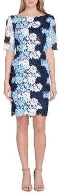 Tahari Arthur S. Levine Petite Colored Lace Sheath Dress