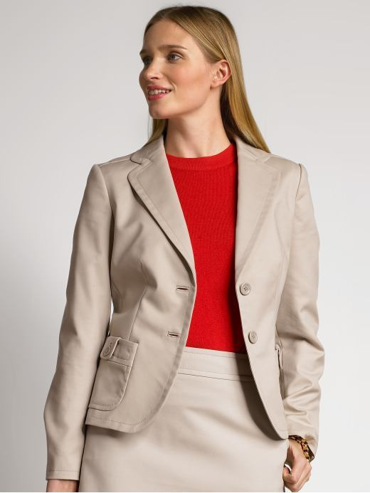 Petite stretch cotton-blend suit jacket