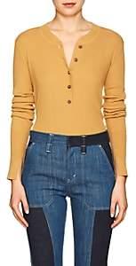 Land of Distraction Women's Hadley Rib-Knit Henley Top - Mustard