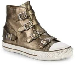 Ash Virgin Metallic Leather High-Top Sneakers