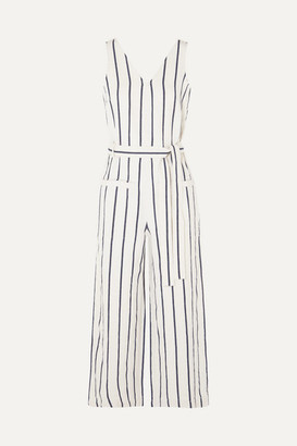 Madewell Striped Cotton And Linen-blend Jumpsuit - Cream