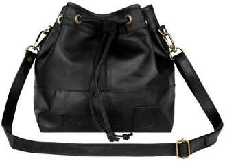 MAHI Leather - Classic Bucket Drawstring Bag In Black Leather