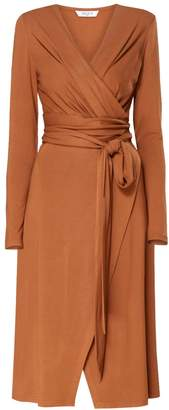 PAISIE - Pleated Wrap Dress With Waist Tie In Brown