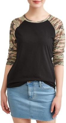 No Comment Juniors' Contrast Camo Raglan Sleeve T-Shirt