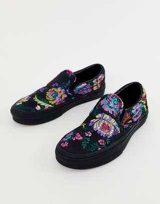1613010093 Vans Classic Slip-On black floral satin sneakers