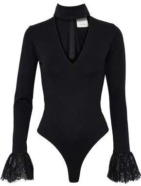 Cinq à Sept Elara Lace-Trimmed Cutout Stretch-Cotton Bodysuit