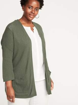 Old Navy Slub-Knit Open-Front Plus-Size Sweater