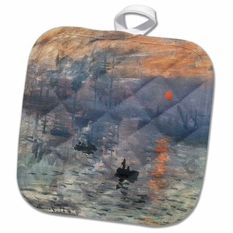 3dRose Impression Sunrise by Claude Monet, 1872 - Pot Holder, 8 by 8-inch