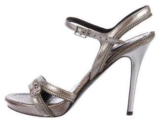 Alexander McQueen Leather Zipper-Accented Sandals
