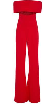Cushnie Off-The-Shoulder Mesh-Paneled Crepe Jumpsuit