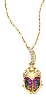 Aurelie BidermannAurelie Bidermann Mini Beetle Diamond, Rubies, Sapphire & 18K Yellow Gold Pendant