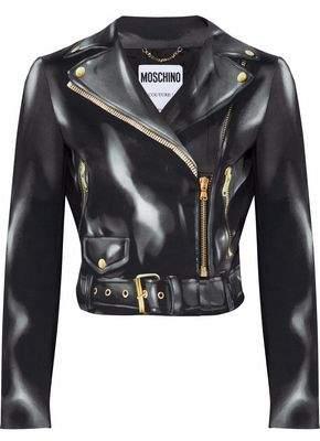 Moschino Printed Cotton-Blend Biker Jacket