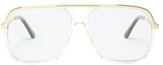Gucci - Squared Aviator Acetate Sunglasses - Mens - Yellow