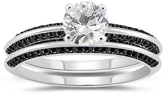 Black Diamond Vogati 0.66 Cts & 1.01 Cts White Sapphire Engagement & Wedding Ring Set in 14K White Gold-6.0