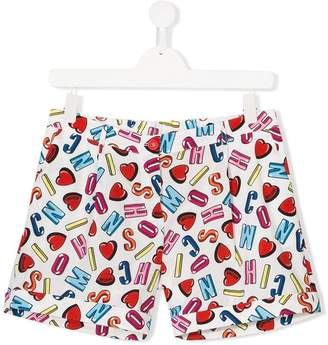 Moschino Kids teen letter print shorts