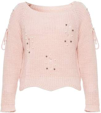 Quiz Pink Knitted Long Sleeve Pearl Jumper