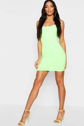 boohoo Jumbo Rib Square Neck Neon Bodycon Dress