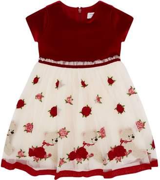 MonnaLisa Velvet Embroidered Dress