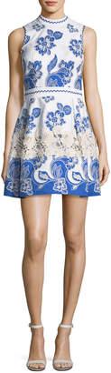 Alexis Farah High-Neck Sleeveless Embroidered Dress