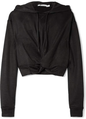 Alexander Wang Cropped Twist-front French Terry Hooded Top - Black