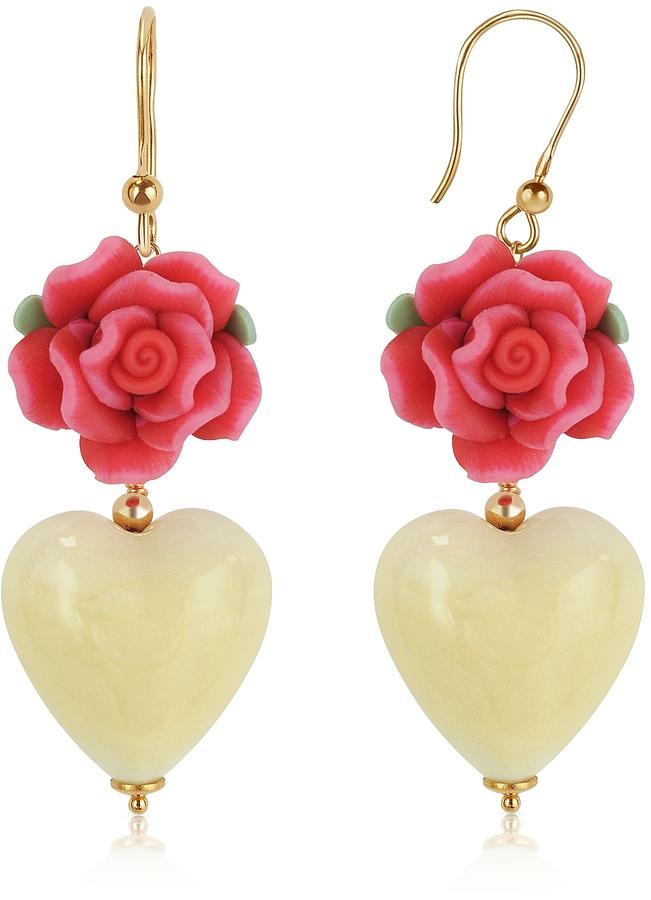Murano House of Heart Glass Drop Earrings