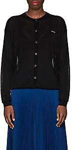 Prada Women's Logo Semi-Sheer Cardigan - Black