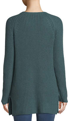 Lilla P Ribbed Pocket-Hem Tunic Sweater
