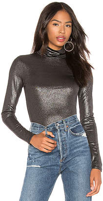 BCBGMAXAZRIA Metallic Turtleneck Knit Top