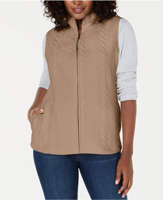 Karen Scott Petite Cable-Pattern Vest