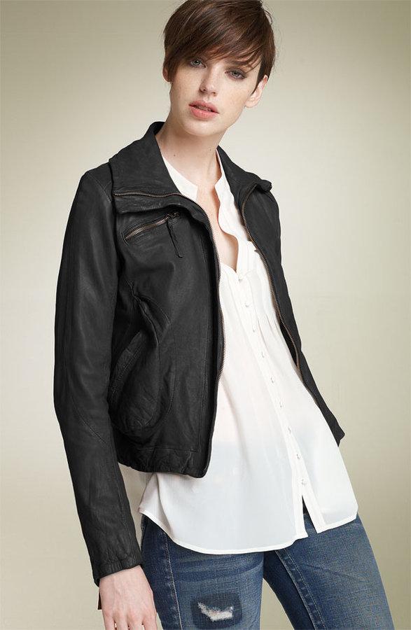 Doma Washed Leather Bomber Jacket