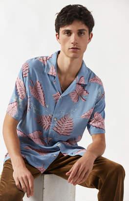 Insight Blue Troppo Short Sleeve Button Up Camp Shirt