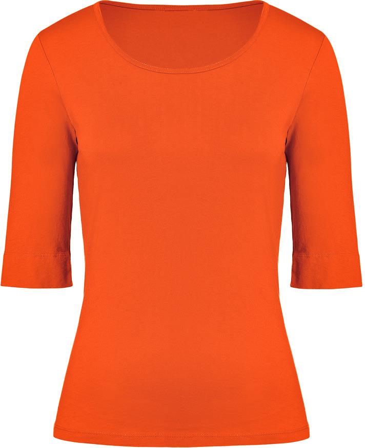 Closed Vibrant Orange Elbow Sleeve T-Shirt