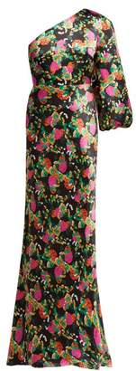 Saloni Lily One Shoulder Floral Print Silk Satin Dress - Womens - Black Pink
