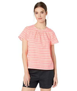 CeCe Flutter Sleeve Cotton Stripe Jacquard Blouse