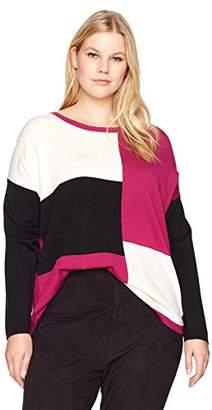 Jones New York Women's Plus Size Longsleeve Drop Shoulder Color Blocked P/o