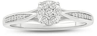 MODERN BRIDE Promise My Love Womens 1/6 CT. T.W. Genuine White Diamond Sterling Silver Promise Ring