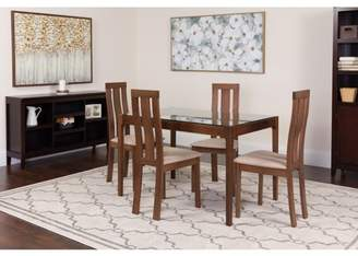 Flash Furniture Gridley 5 Piece Walnut Wood Dining Table Set with Glass Top and Vertical Wide Slat Back Wood Dining Chairs - Padded Seats