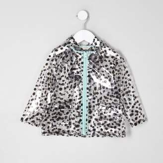 River Island Mini girls black polka dot clear raincoat