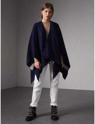 Burberry Reversible Check Merino Wool Poncho, Blue