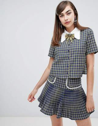Sister Jane button up shirt with embellished ribbon tie in check two-piece