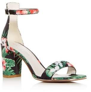 Kenneth Cole Women's Lex Floral Print Satin Block Heel Sandals