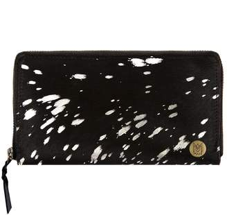MAHI Leather - Classic Ladies Purse In Black Pony Hair & Silver Detailing