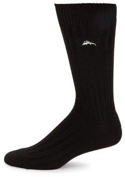 Tommy Bahama Embroidered Ribbed Crew Socks